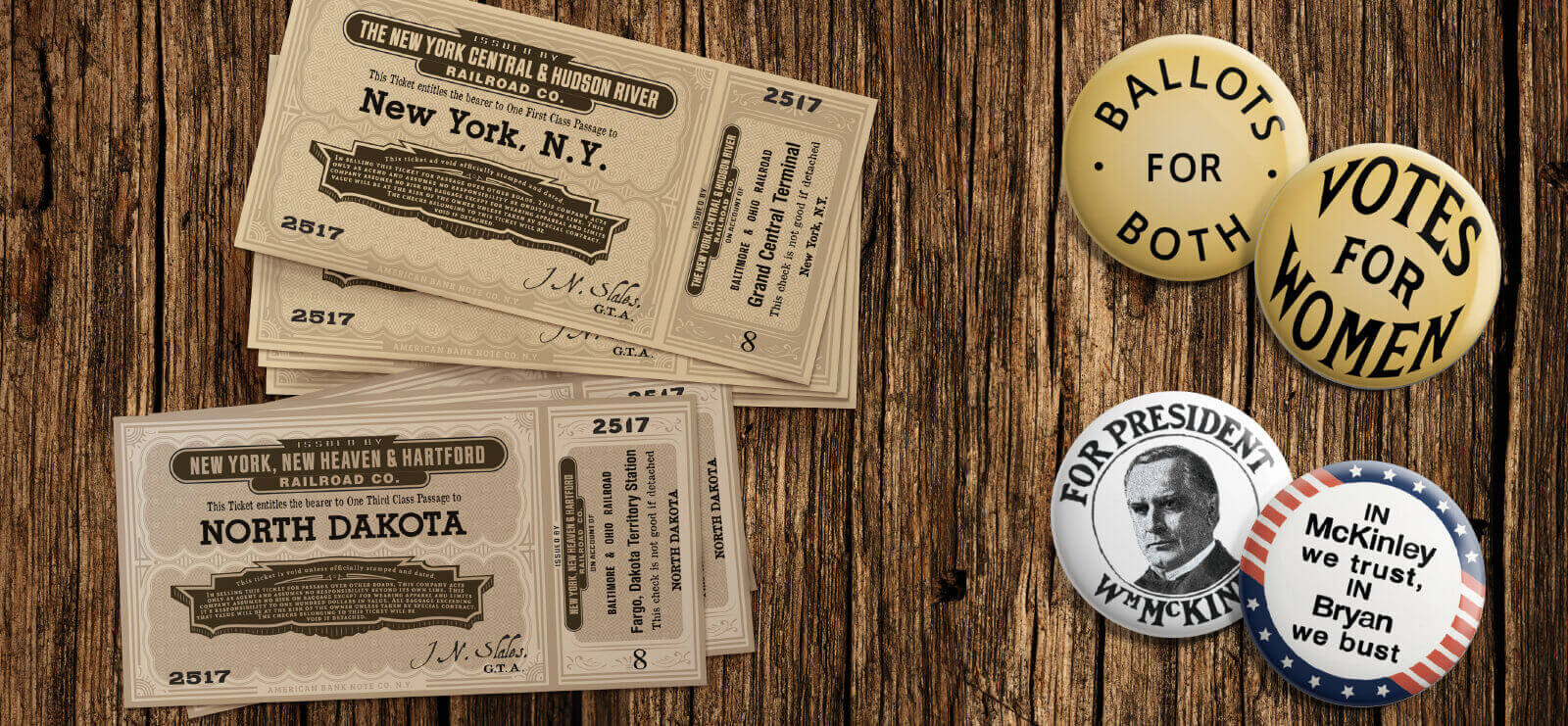The Alienist - Train tickets and political pins